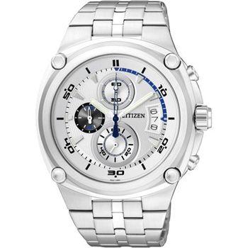 CITIZEN 天競爭霸三眼計時腕錶-銀AN3450-50A