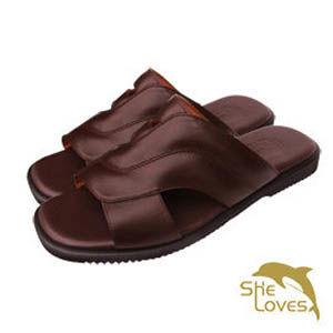 【SHELOVES喜樂絲】真皮質感休閒拖鞋 咖啡2L12002