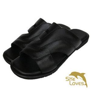 【SHELOVES喜樂絲】真皮質感休閒拖鞋 黑色2L12002