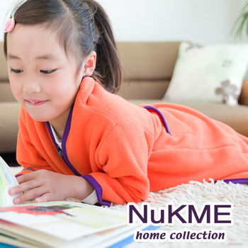 棉花田【NuKME】兒童時尚多功能創意袖毯-亮桔色