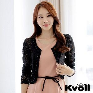 【KVOLL中大尺碼】黑色釘珠花邊鏤空蕾絲披肩小外套JK-0466
