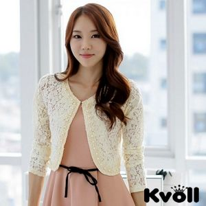 【KVOLL中大尺碼】杏色釘珠花邊鏤空蕾絲披肩小外套JK-0466