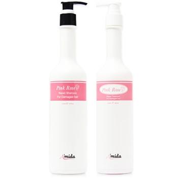 【Amida】-粉玫瑰有機洗髮精 400ML+有機護髮素400ML