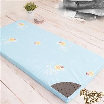 【奶油獅】平面透氣精梳純棉嬰兒備長碳記憶床墊(3色)