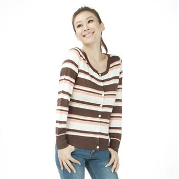 [唐絹]雅致橫條針織外套(紫 / 咖)