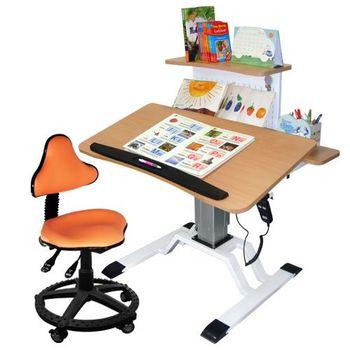 【第一博士】T3電動升降書桌椅組(原木色)