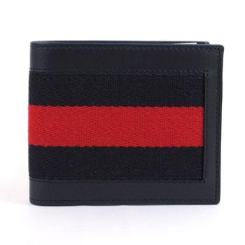 【GUCCI 】245767 簡約時尚經典條紋織帶皮革短夾.黑