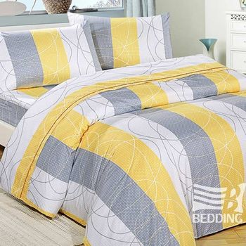 【BEDDING】親膚絨雙人三件式床包組(多彩多姿-黃)