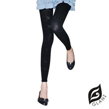 【GLANZ 格藍絲】320丹韓版塑身美腿內搭九分襪(甜美彩結花紋