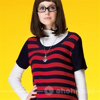 【ohoh-mini】條紋漸層長版針織孕婦上衣