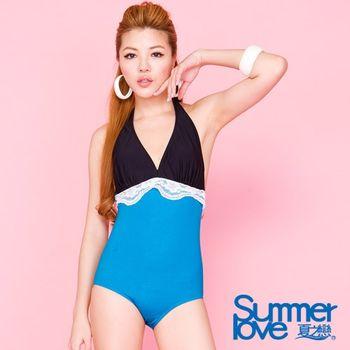 夏之戀SUMMERLOVE 雙色搭配連身三角泳衣E12717