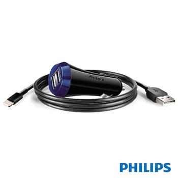 【PHILIPS】雙USB 2.1A快速車充含iPhone5傳輸線