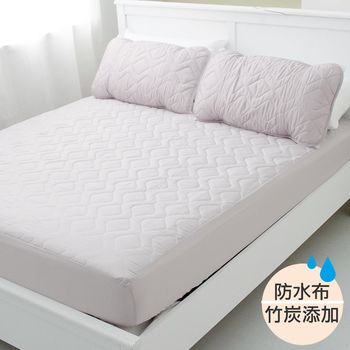 【EYAH宜雅】防潑水床包式竹炭保潔墊雙人加大3入組(含枕墊x2)