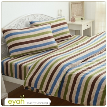 eyah【流行線條】珍珠搖粒絨多用途被套毯雙人床包四件組