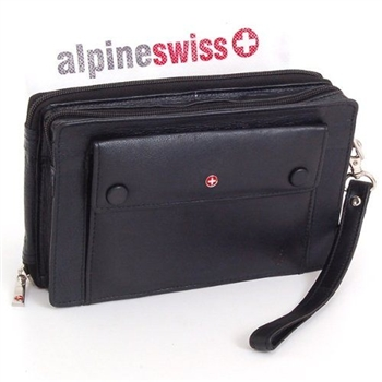 【Alpine Swiss】瑞士十字標記旅行黑色手拿包