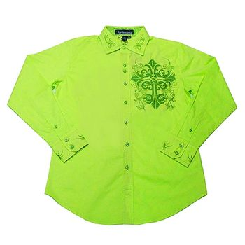 【摩達客】美國進口Victorious-徽章刺繡萊姆黃綠長袖襯衫
