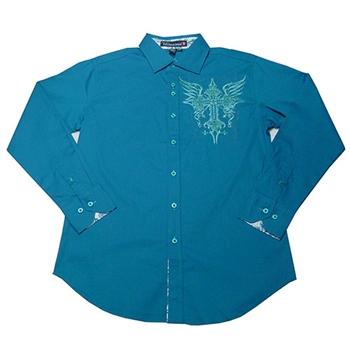 【摩達客】美國Victorious-翅膀十字圖騰刺繡藍綠色長袖襯衫