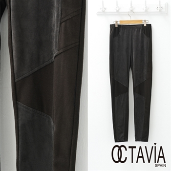 【OCTAVIA COLOR】拼接緊身內搭褲 麂絨彈性 - 灰絨黑網