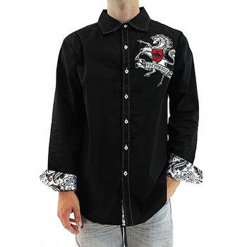 【摩達客】美國進口Victorious-駿馬圖騰刺繡黑色長袖襯衫