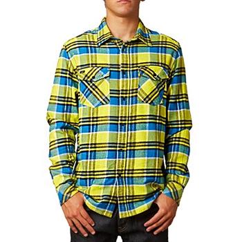 【摩達客】美國進口知名時尚休閒品牌【Fox】黃藍方格紋長袖襯衫