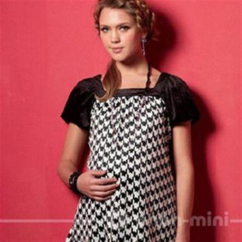 【ohoh-mini】孕婦裝系列-時尚OL‧千鳥格絨公主袖上衣