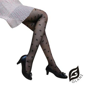 【GLANZ 格藍絲】日系甜美辛辣造型顯瘦透膚襪(甜美蝴蝶結) 黑