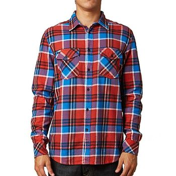 【摩達客】美國進口知名時尚休閒品牌【Fox】紅藍方格紋長袖襯衫