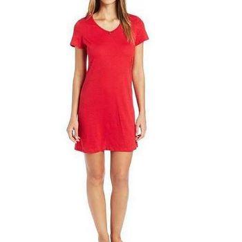 NAUTICA 女魅力紅色小錨裝飾V領短袖睡衣