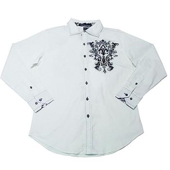 【摩達客】美國進口潮時尚Victorious-花紋刺繡白色長袖襯衫