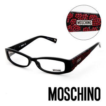 MOSCHINO 義大利設計時尚晶鑽造型平光眼鏡(黑)