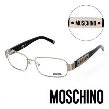 MOSCHINO 義大利設計經典復古造型金屬平光眼鏡(黑)