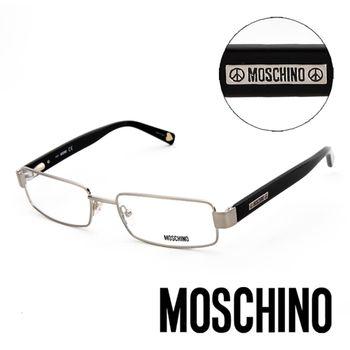 MOSCHINO 義大利設計經典金屬造型平光眼鏡(黑)