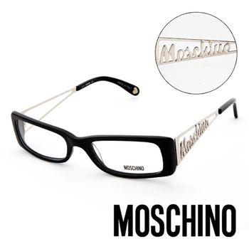 MOSCHINO 義大利設計復古金屬LOGO造型眼鏡(黑)