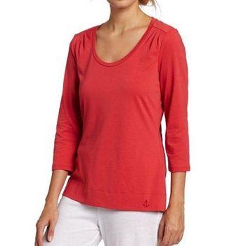 NAUTICA 女魅力紅色肩抽皺長袖睡衣