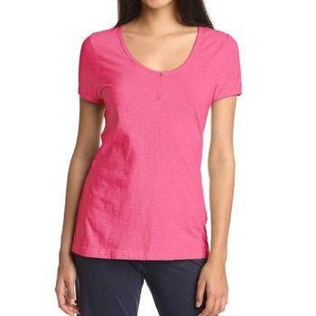 NAUTICA 女魅力桃粉色低圓領細邊短袖睡衣