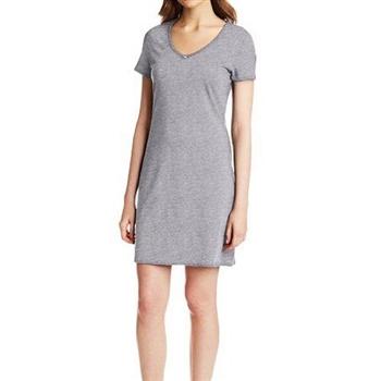 NAUTICA 女魅力灰色V領短袖連身短睡衣