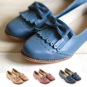 【GREEN PHOENIX 波兒德】朵結流蘇雕花牛津鞋(三色)-粉紅色、深藍色、卡其色