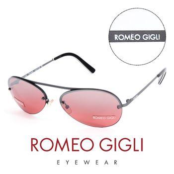 Romeo Gigli 義大利 復古質感半框造型太陽眼鏡(紅)