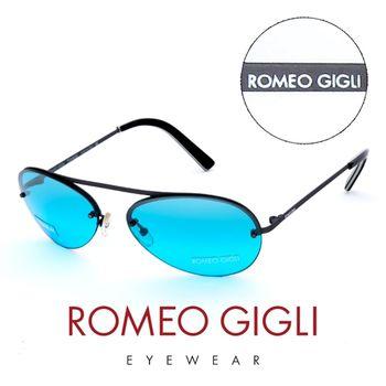 Romeo Gigli 義大利 復古質感半框造型太陽眼鏡(藍)