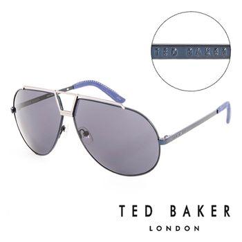 TED BAKER 倫敦 復古時尚皮革鏡腳造型太陽眼鏡(藍)