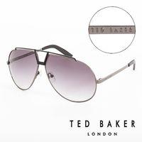 TED BAKER 倫敦 復古 皮革鏡腳 太陽眼鏡 ^#40 鐵灰 ^#41