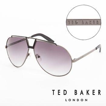 TED BAKER 倫敦 復古時尚皮革鏡腳造型太陽眼鏡(鐵灰)