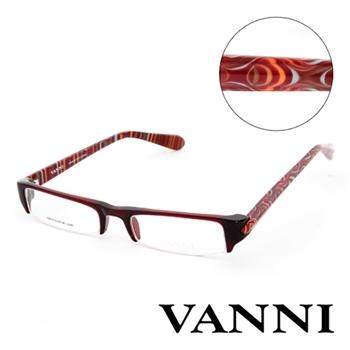 Vanni 復古經典花紋造型平光眼鏡(深紅)
