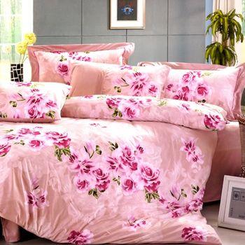 【KOSNEY】 粉彩仙語 頂級超柔絲棉絨雙人兩用被床包組