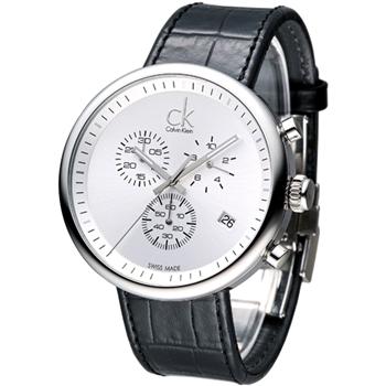 cK 潮男魅力大表徑三眼計時腕錶-白
