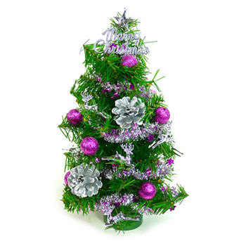 台灣製可愛迷你1呎(30cm)裝飾聖誕樹(銀紫色系)