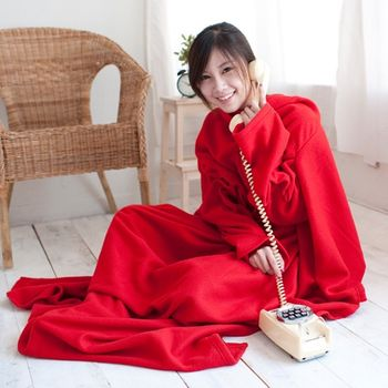 【米夢家居】紅喜迎春~100%台灣製造輕柔懶人袖毯