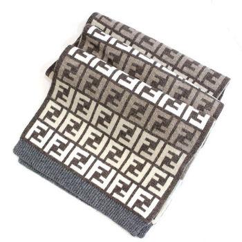 FENDI經典雙F緹花毛圍巾(駝色)