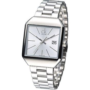 cK 極簡方形風尚女腕錶-銀白