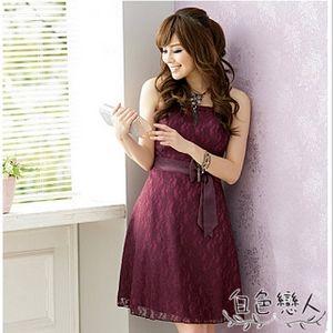 【白色戀人中大尺碼】紫紅色時尚東方花網小禮服洋裝JK-2335